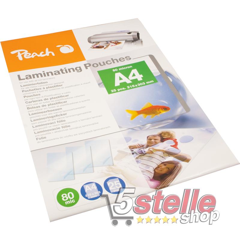 PEACH KIT PLASTIFICATRICE A CALDO PL750 TAGLIERINA 100 POUCHES A4 80 MIC